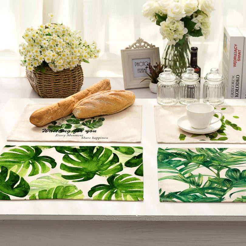 2017 New Modern Green Leaf Table Placemat Small Fresh Linen Napkin  Tablecloth Tablecloth Home Decoration Wed