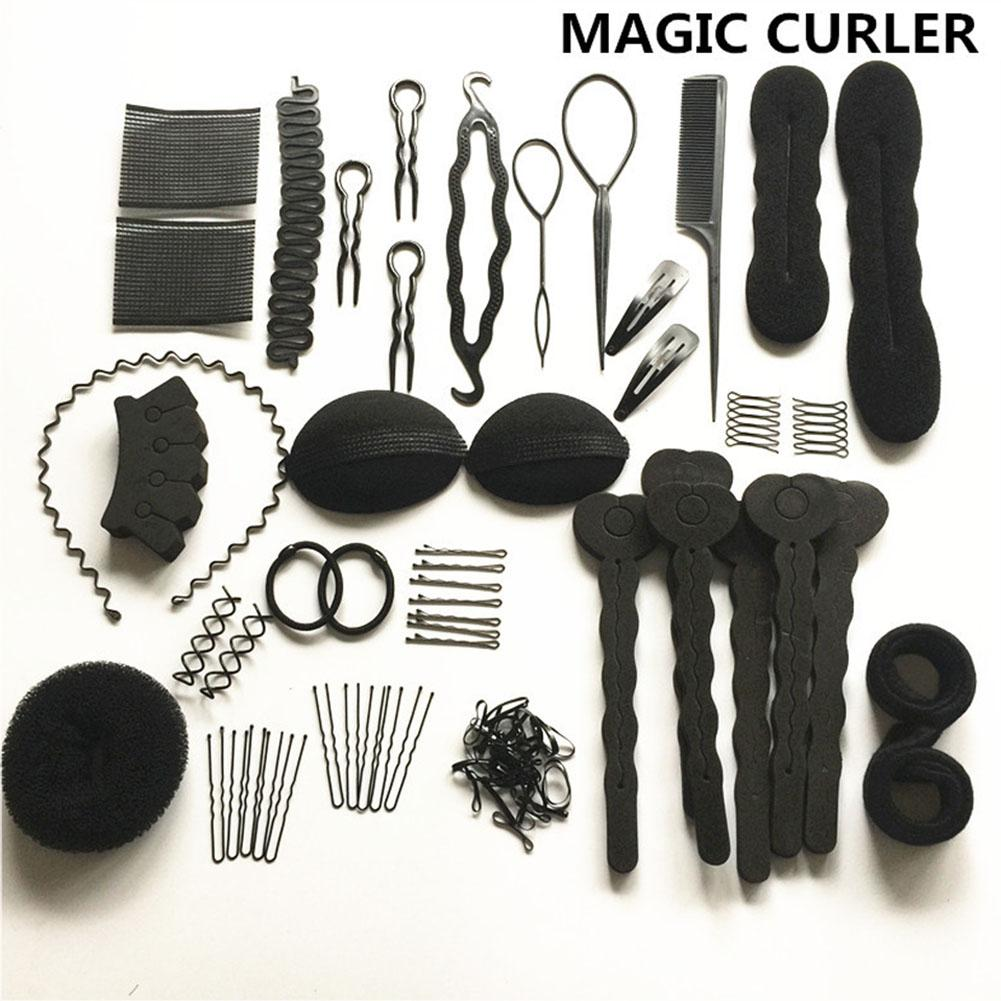 20 Pcs/Set Hair Styling Tools Magic Hair Bun Clip Maker Hairpins Roller Kit Braid Twist Set Sponge Styling Accessories