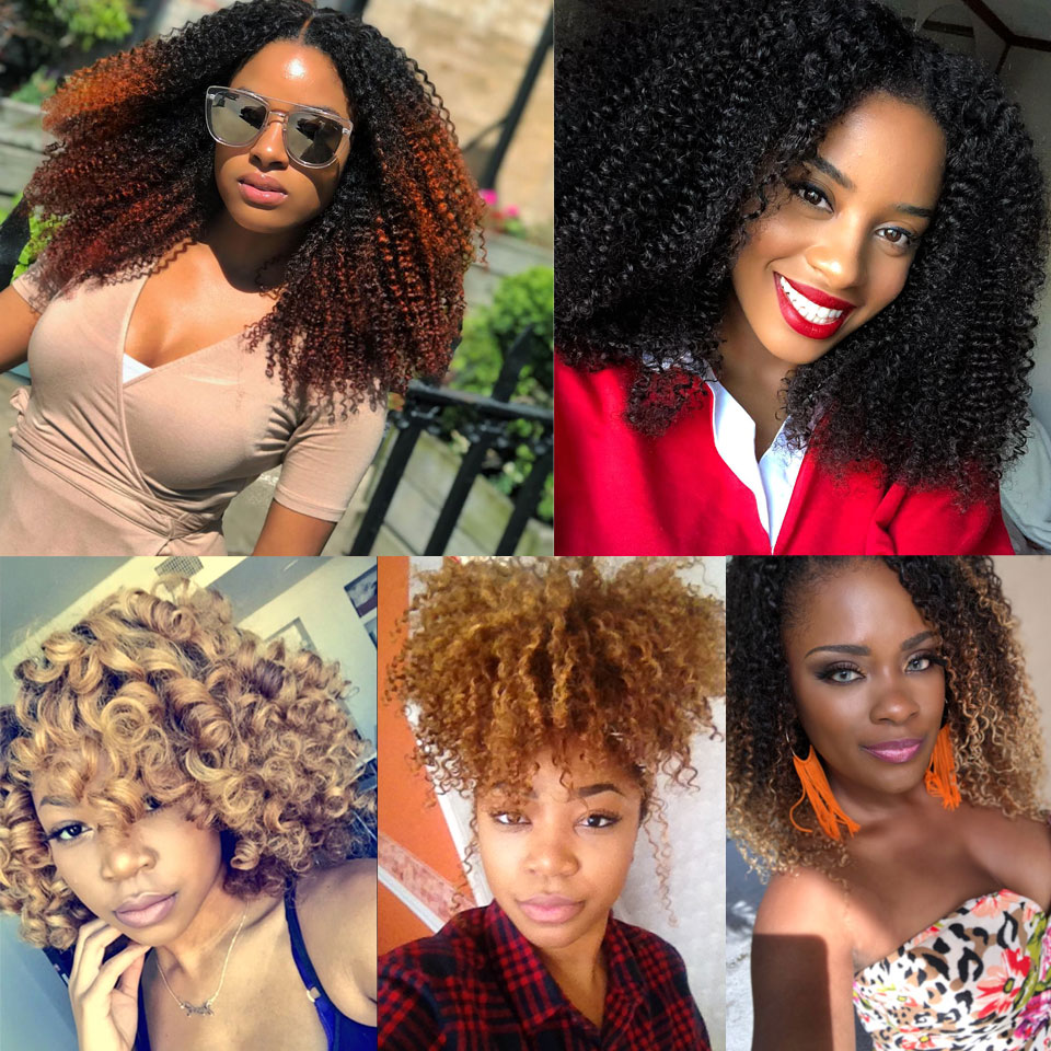 Yvonne 4A 4B Brazilian Kinky Curly Human Hair Frontal With Bundles Virgin Hair Weave 3 Bundles With Frontal 13*4