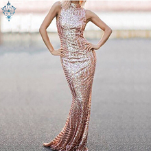 Ameision Shiny Rose Pink Evening Dresses 2019 Sexy Sequined Mermaid Backless Prom Keyhole Long Women Formal Party gown