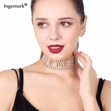 купить Luxury Rhinestone Choker Necklace Letter HONEY Nacklace Women Maxi Chain Necklace jewelry 2018 Girlfriend Collares Collier femme дешево