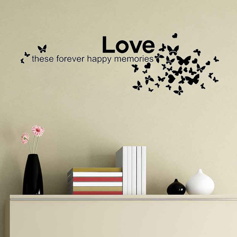 Love These Forever Happy Memories And Butterfly Art Decor Decal Quote  Sticker Mural Inspiration In Wall Stickers From Home U0026 Garden On  Aliexpress.com ...