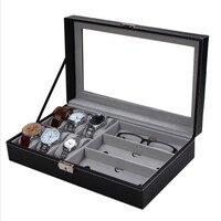 Multifunctional PU Watch Glasses Display Box Jewelry Storage Organizer Storage Boxes Home Storage GG