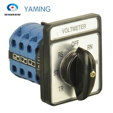 Yaming Electric Voltmeter switch OFF-RN-SN-TN-TR-ST-RS 3 poles 20A 7 position Changeover rotary cam interruptor CA10