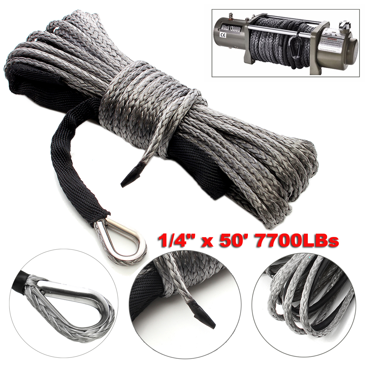 5mm X 15m Winch Line Rope Cable 7700 LBs For ATV UTV Vehicle Synthetic Gray m