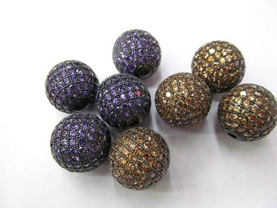 12 pièces 6-16mm CZ Micro pavé diamant, CZ cubique zircone connecteur charmes, résultats bijoux à bricoler soi-même, perles rondes