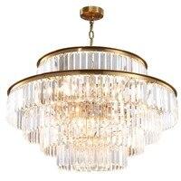 Nowoczesna kryształowa żyrandol do salonu luksusowe złote lampy LED kryształy jadalnia wystrój łańcucha żyrandole oświetlenie w Wiszące lampki od Lampy i oświetlenie na