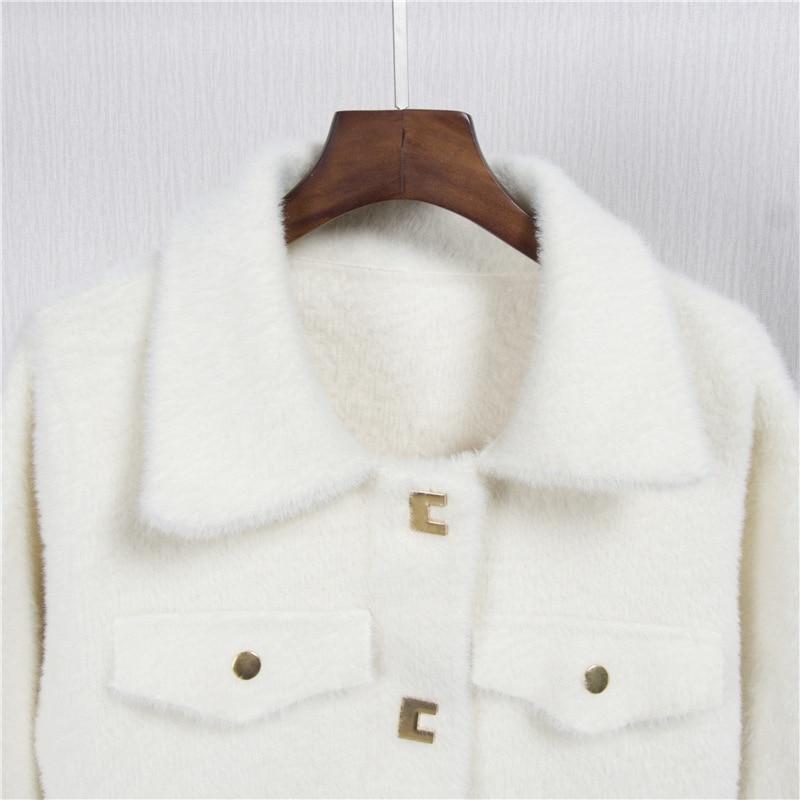 Coréenne robe Le Tricot Veste White Vison Locomotive Occasionnel Hiver Joker Bas De Cardigan Manteau Femme Costume camel Et Automne Lâche Vers qf7wvv