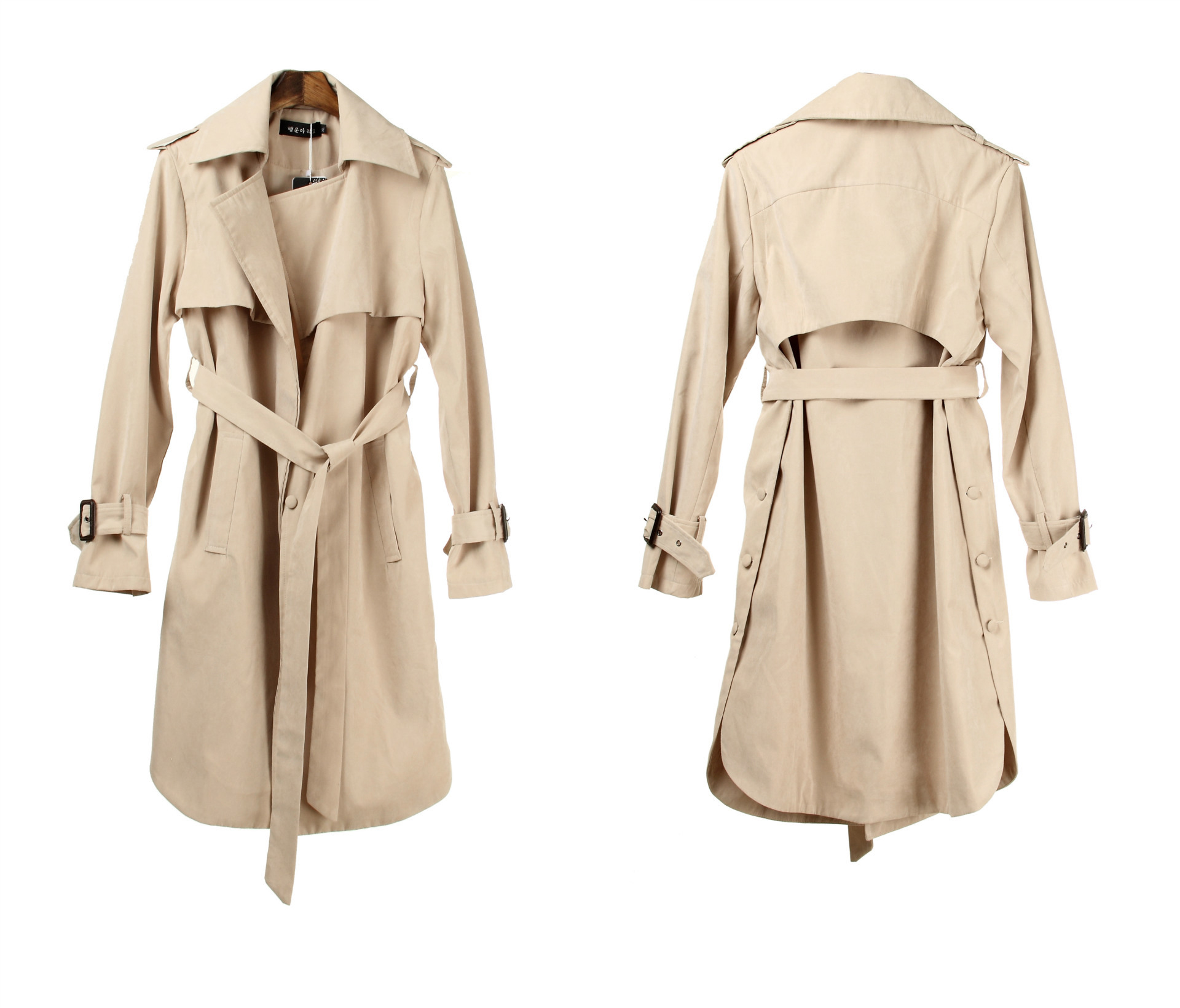 JAZZEVAR 19 new spring autumn fashion Casual women's khaki Trench Coat long Outerwear loose clothes for lady with belt 850115 12