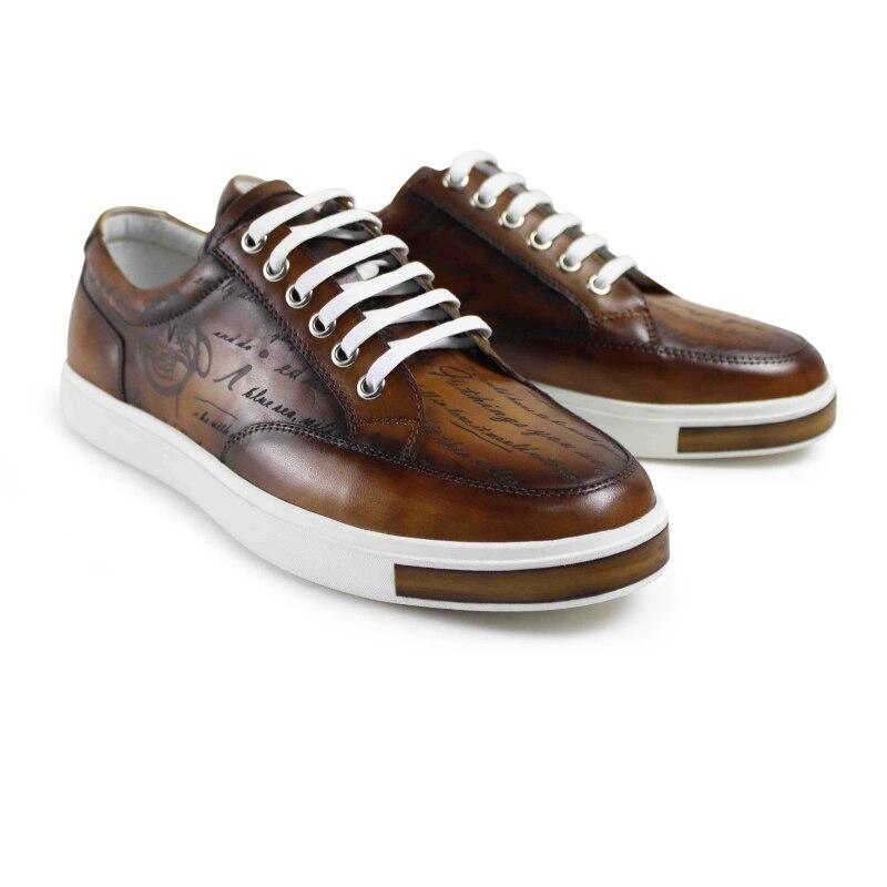 Vikeduo 2019 chaud fait à la main Vintage mode marque de luxe homme chaussure en cuir véritable décontracté casual Skateboard chaussures marron articles chaussants pour hommes-in Chaussures décontractées homme from Chaussures    3
