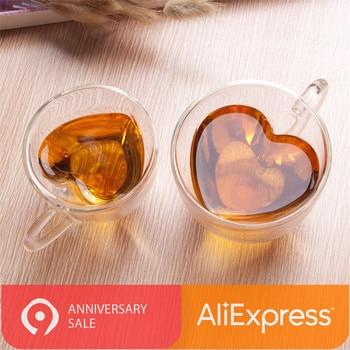 Taza de corazón con forma de amor, taza de vidrio de doble pared resistente, taza de té de Kungfu, taza de jugo de limón, tazas de café para amantes taza de café