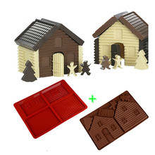 2 PCS 3D Gingerbread Chocolate House Mold Christmas Tree Decorating Lovely Couple Cookie Biscuits Cake Bakeware Baking Tools
