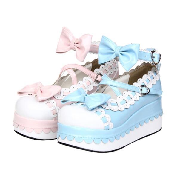 Cosplay Zapatos rosado Impresión Princesa Mano Mujeres Bombas Chica Partido A Dama Hecho Trifle Vestido Tacones Mujer Lolita Angelical Mori Dulce Blue Alta zw1zq8r