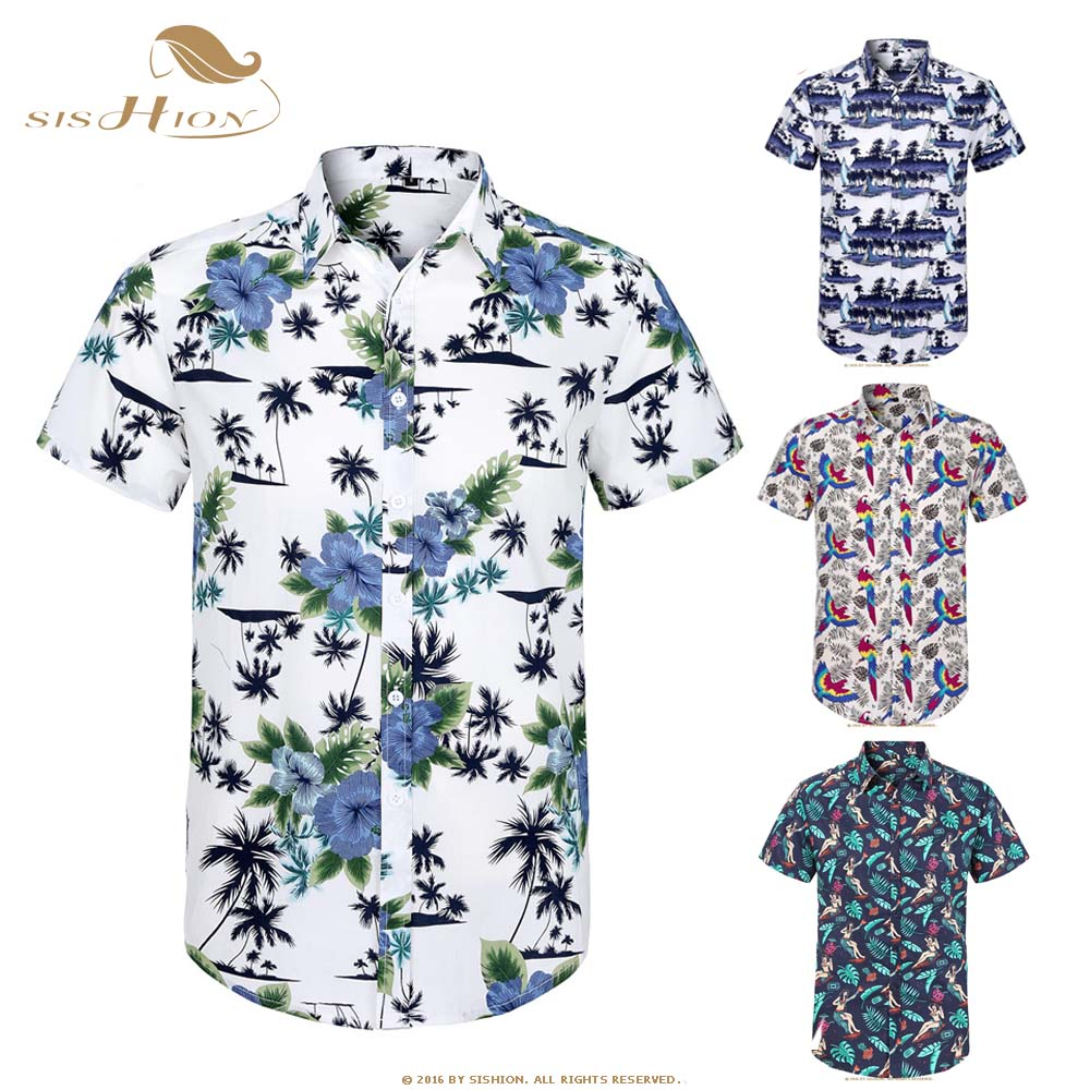 SISHION Cotton Hawaiian Shirt Short Sleeve Coconut Tree Floral Print Summer Beach Casual Men Shirt MS0006 Plus Size Hawaii Shirt