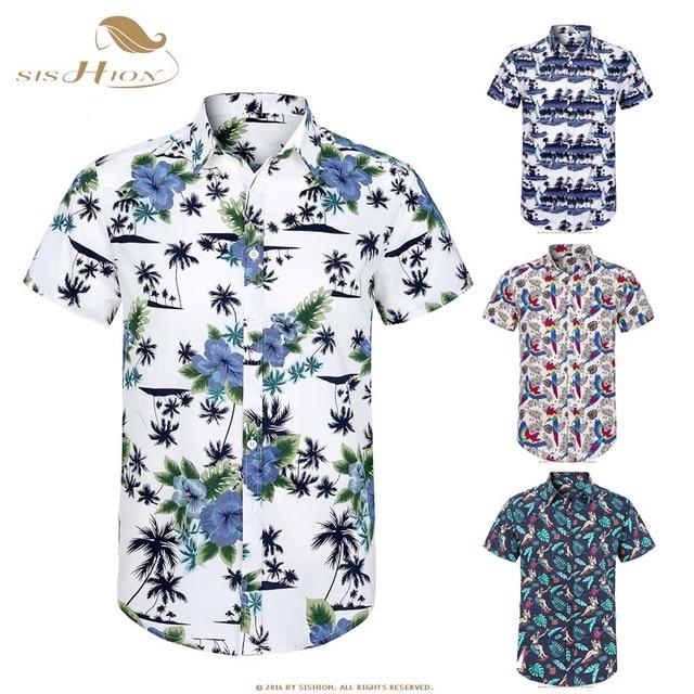 a4983654 SISHION Cotton Hawaiian Shirt Short Sleeve Coconut Tree Floral Print Summer  Beach Casual Men Shirt MS0006
