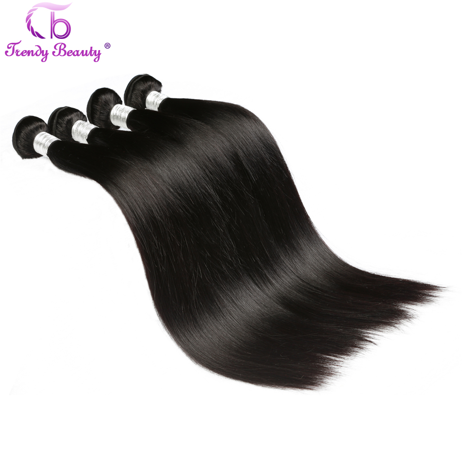 Trendy Beauty Brazilian Straight Hair Non-remy Human Hair Bundles Color #1b Natural Black Color