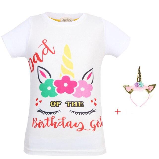 New Childrens T Shirt Unicorn Cartoon Shirts Kids Girl Tees Fashion Happy Birthday For