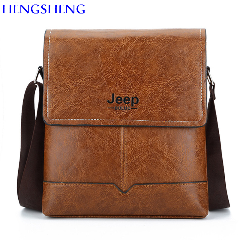 HENGSHENG JEEP font b Leather b font men shoulder bags with quality pu font b leather