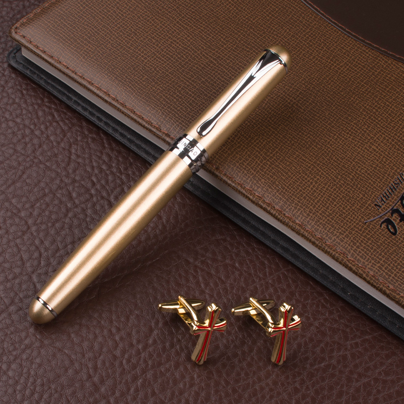 JINHAO X750 CHAMPAGNE AND SILVER luxury school Office Stationery metal ROLLER BALL PEN EXECUTIVE cufflinks for mens dikawen 891 gray gold dragon clip 0 7mm nib office stationery metal roller ball pen pencil box cufflinks for mens luxury