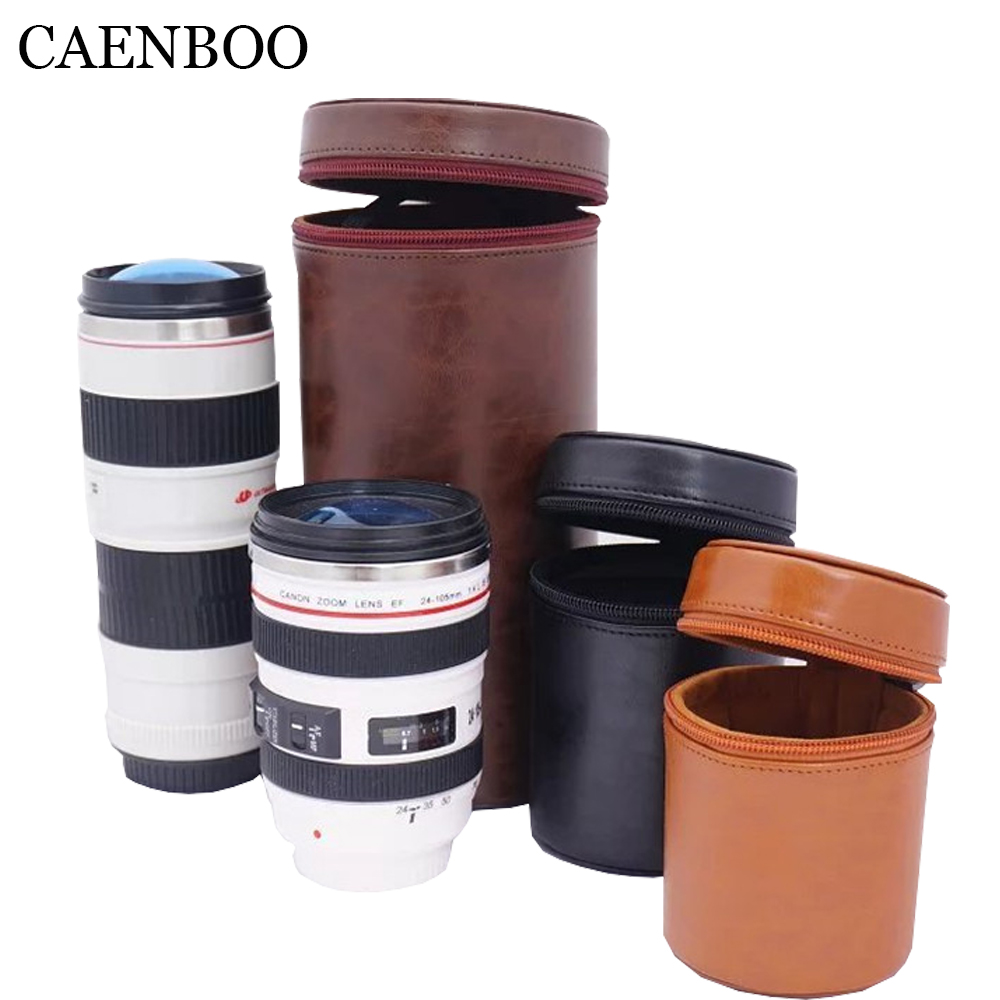 US $10 12 6% OFF|CAENBOO Leather Camera Lens Bag Retro Hard PU Lens Case  for Canon Nikon Sony Pentax Fujifilm Tamron Sigma Lens Pouch Protector-in