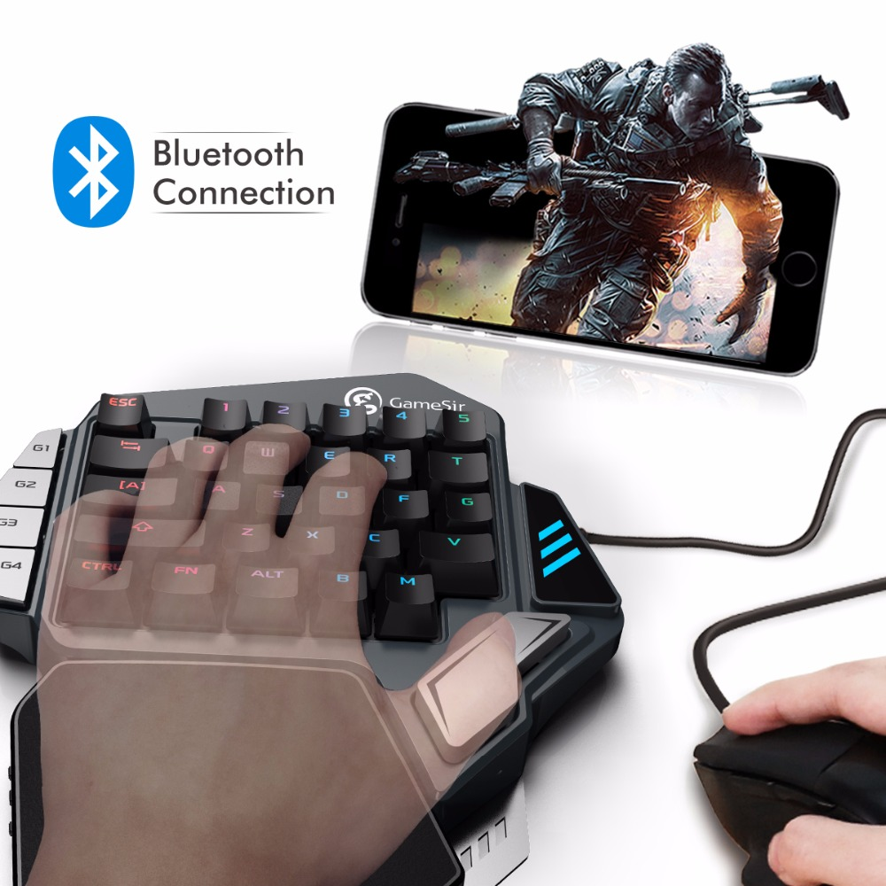 GameSir Z1 Gaming Tastiera per PUBG FPS giochi per Cellulari, AoV, Mobile Legends, RoS. Con una sola mano Cherry MX red switch tastiera/BattleDock
