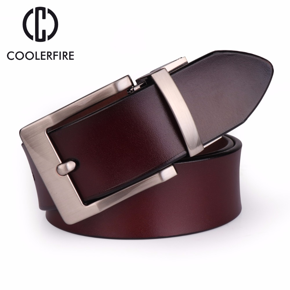 COOLERFIRE 2018 Fashion Men genuine leather   belts   high quality vintage style male strap classic jeans   belts   for men 058