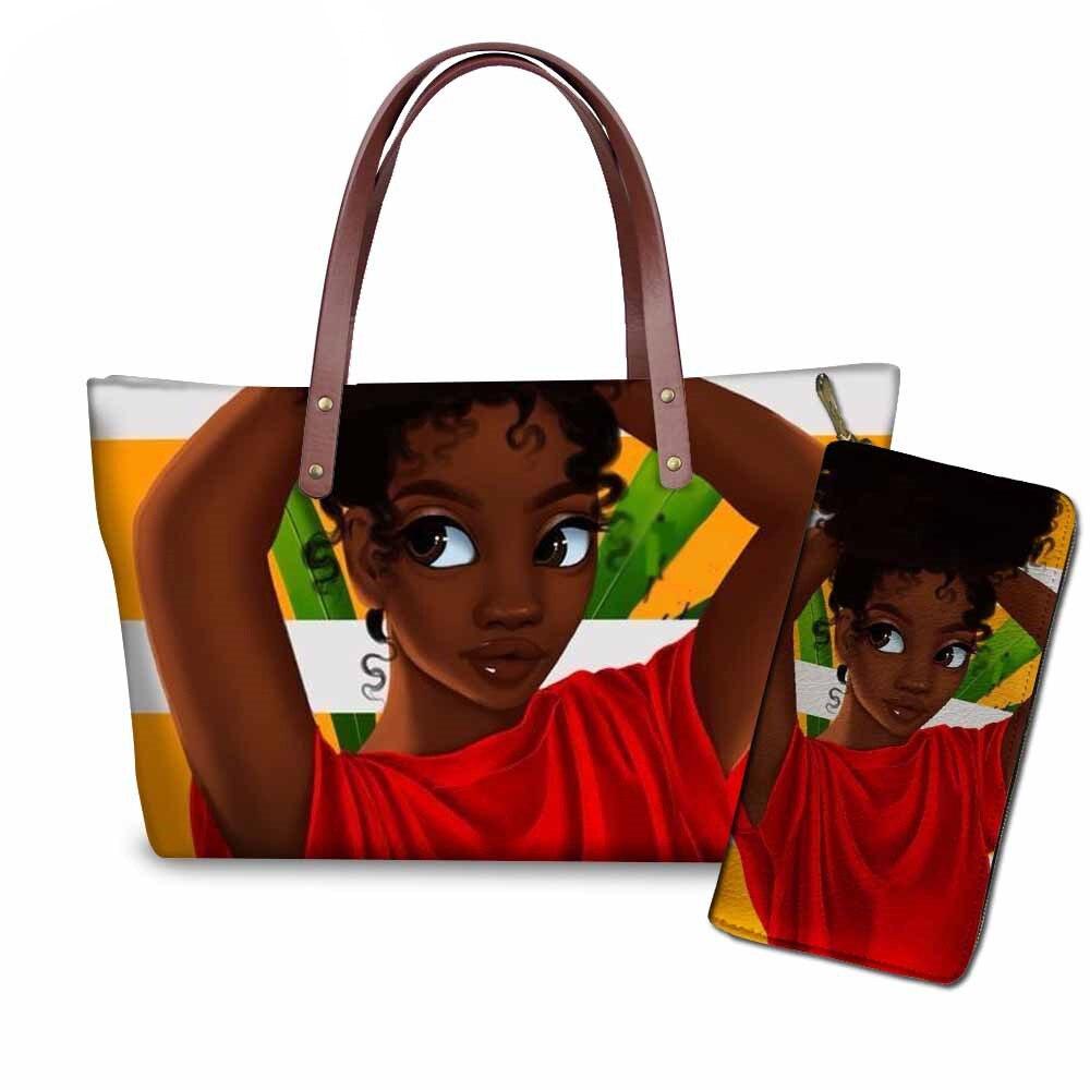 NOISYDESIGNS 2pcs/set Women Handbags&Wallet for Travel Hand Bag Ladies Black Art African Girls Printing Top-Handle Bags
