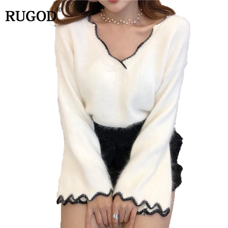 Rugod 2017 Sweater Women V-Neck Long Flare Sleeve Knitted Jumper Wave Fringe Sweaters Warm White Christmas Sweater Pull Femme