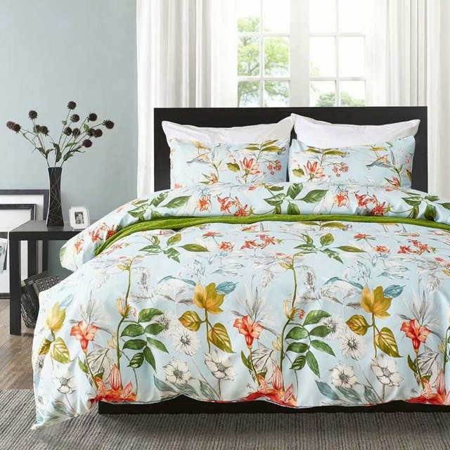 2019 Spring Bedding Sets Single Double King Queen Europe 220/240 Luxury Duvet Cover Set Linen Bed Set Bedclothes Blue flower