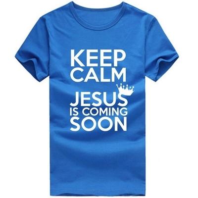 Keep Calm Jesus Is Coming Soon T-shirts Catholic God Christian T-shirts Men Short sleeved