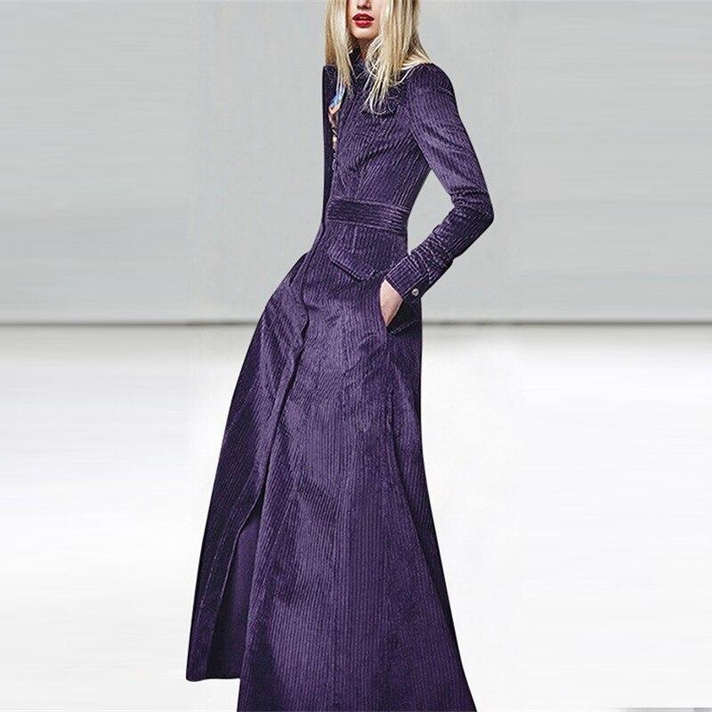 Haute qualité automne hiver T-shirt robe nouvelle mode piste femmes longue robe à manches longues couleur unie velours rayé robe de soirée