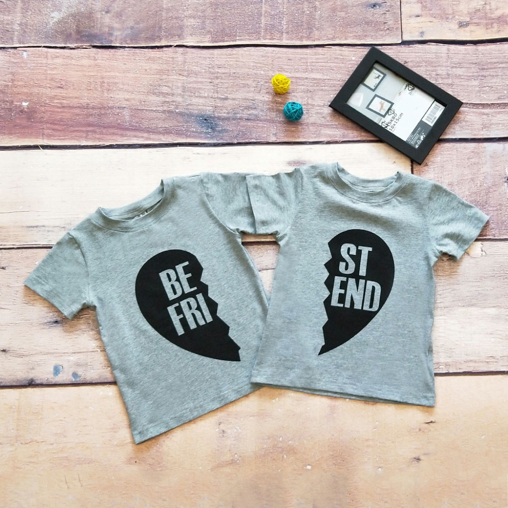Fashion 2018 Baby T-<font><b>Shirt</b></font> Short Sleeve Cotton <font><b>Best</b></font> <font><b>Friend</b></font> Print Good Quality <font><b>Kids</b></font> Top Tees Popular Family Matching Outfits image