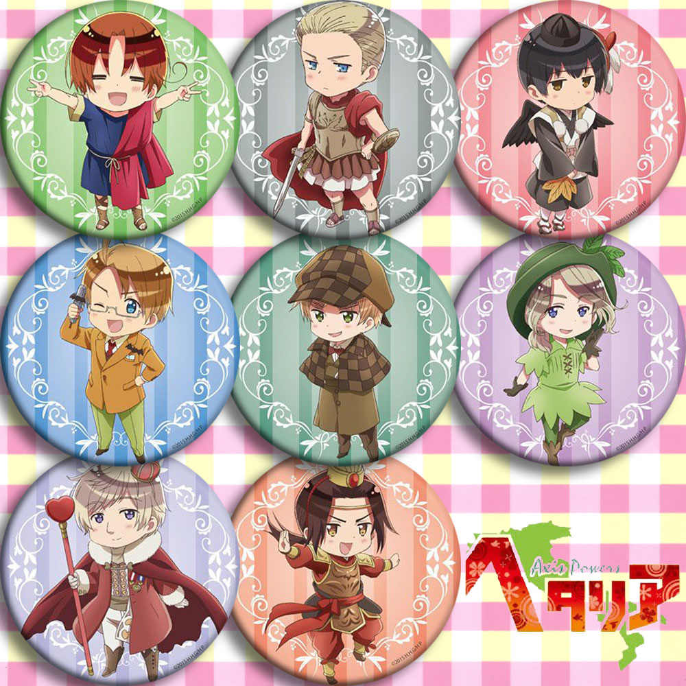 Japan Anime Hetalia C Cosplay Badge 58mm Cartoon Collection Backpacks Badges Bags Button Brooch Pins Gift