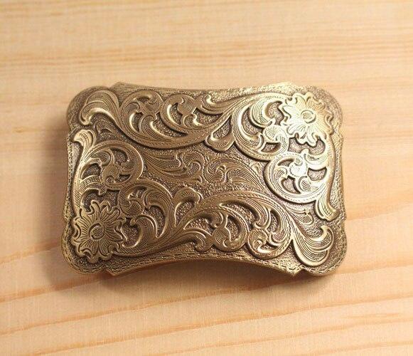High Quality Antique Finish Vintage/Retro Solid Brass Copper Flower embossed Belt Buckles for Men