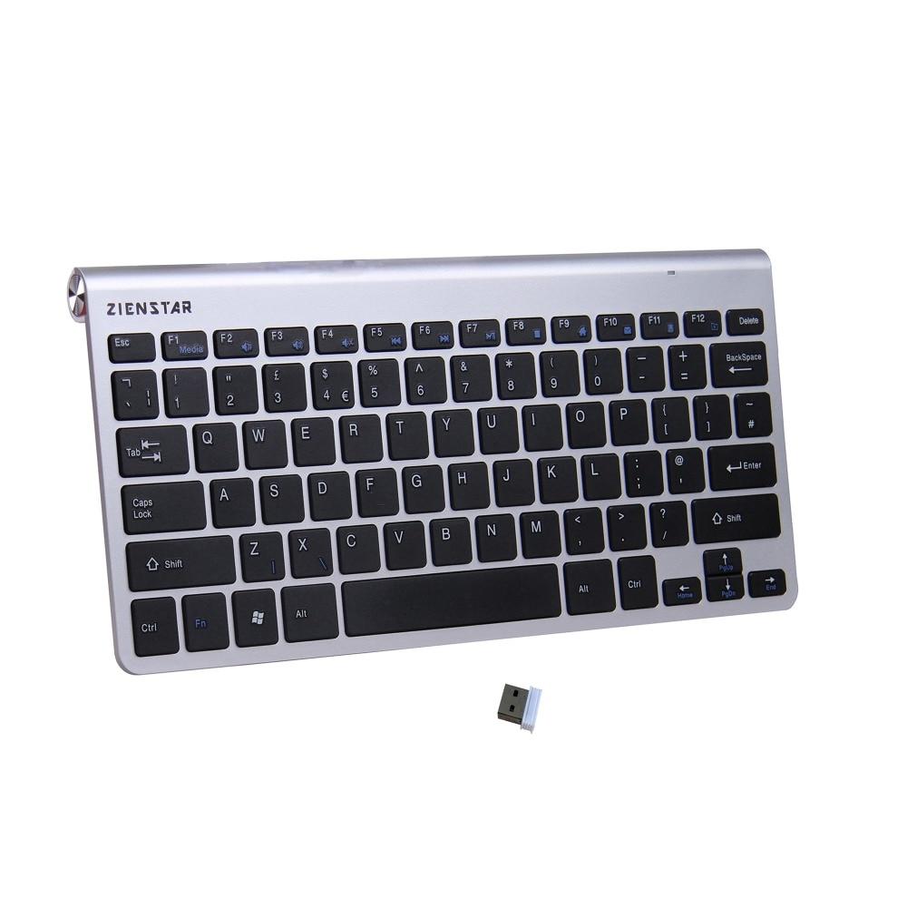 Zienstar UK Language Ultra Slim 2.4G Wireless Keyboard for Macbook/PC computer/Laptop / Smart TV with USB Receiver