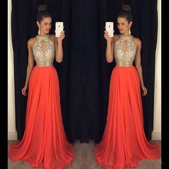 Robe de soiree orange