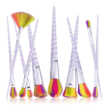 10Pcs Rainbow Hair Makeup Brushes Set Foundation Blush Blending Eyeshadow Eyeliner Lip Cosmetic Tool Kit Spiral Unicorn Handle