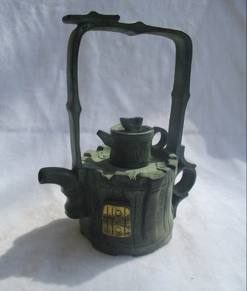 Chinese Old Bronze Gold gilt Carved Handle Tea Pot /s