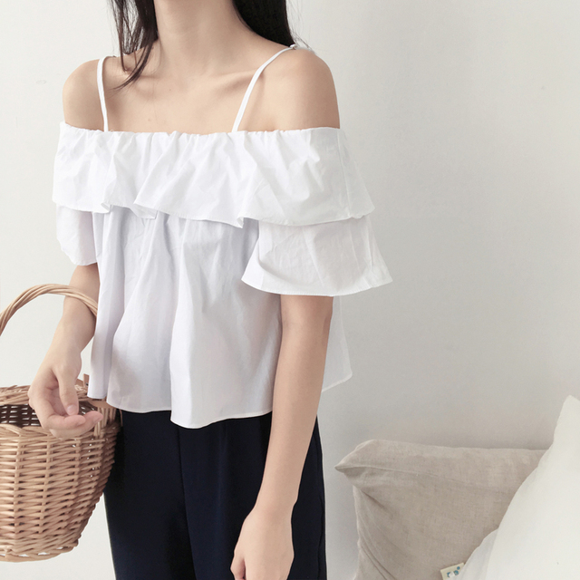 27bab31efd8 Ladies Tops Blouse 2018 Summer Korean Casual Ruffles Flare SLeeve Off  Shoulder Top Shirt Black White Yellow blusa feminina T276