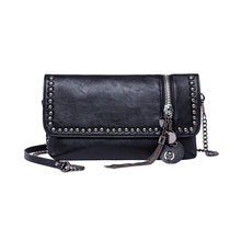 KEYTREND Style Girls Shoulder Crossbody Bag Feminine Messenger Luggage Rivet Tassel Leather-based Small Chains Sequined Clutch Bag KSB367