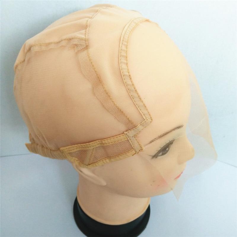 블랙 / 다크 브라운 / 브라운 / 라이트 브라운 / 베이지 레이스 앞 가발 모자 가발을 조절 스트랩과 함께 만들기 Glueless Weaving Extension Cap