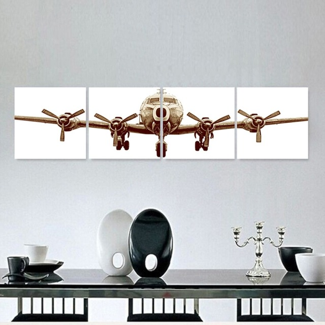 HD  Modular  Wall  Frame Canvas 4 pcs. Vintage Aircraft