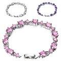 2016 New 925 Sterling-silver-jewelry Crystal Bracelet Size Adjustable Bracelets for Women Girls Gift Bracelets & Bangles