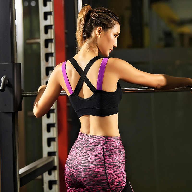 020b933511 Reallion Cross Strap Sexy Sports Bra Women Fitness Breathable Shockproof Yoga  Bra Push Up Padded Black
