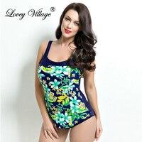 Lovey Village 2016 New Flower One Piece Swimsuit Women Retro Vintage Bathing Suits Plus Size Swimwear