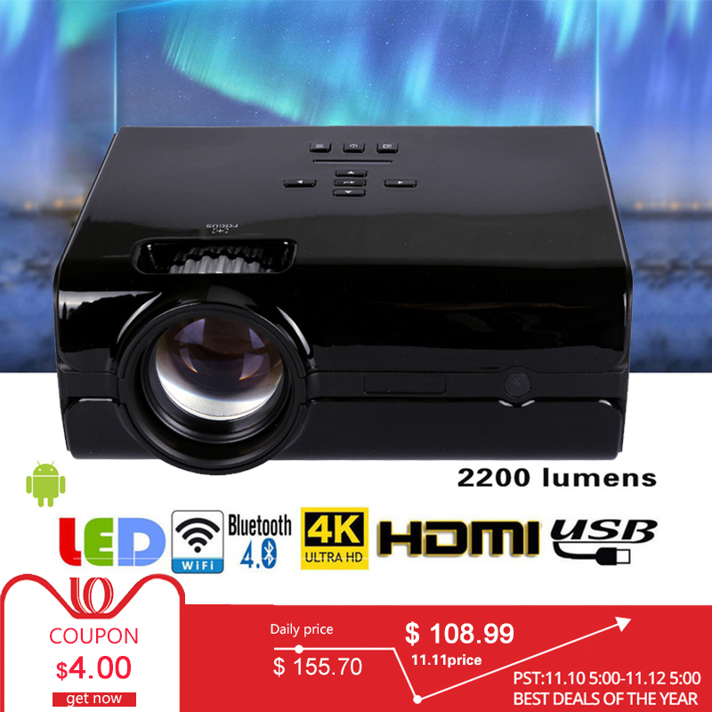 Video Projector 2200 Lumens 4Inch Mini LED Projector Home Theater 20000 Hour LED Video Projector support 1080P home theater 5.1 цены