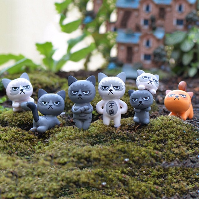 Houses Decoration angry cat animal miniature fairy garden home houses decoration