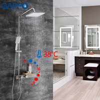 GAPPO Brass shower Faucets thermostatic bathtub faucet brass and stainless steel rainfall shower set mixer tap faucet mixer