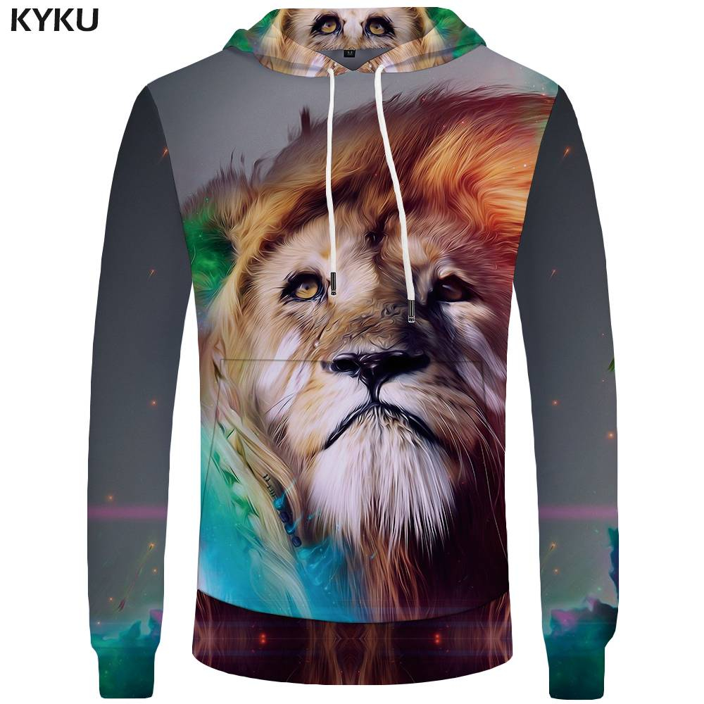 KYKU Brand Lion Hoodies Men Galaxy Mens Clothing Sweatshirts Color Sweatshirt Hoddie Pocket 3d Hoodies Tracksuit Funny Casual