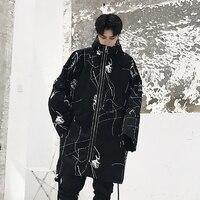 63ce0c9c5d0 ... панк готический Тренч с капюшоном мужской моды Свободные Повседневная  ветровка. Men Long Overcoat Graffiti Print Streetwear Hip Hop Punk Gothic  Hooded ...